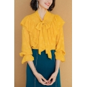 Trendy Girls Shirt Bell Sleeve Bow-tied Neck Ruffled Trim Allover Printed Relaxed Shirt Top in Yellow