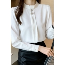 Chic Ladies Blouse White Long Sleeve Mock Neck Button Detail Regular Fitted Blouse Top