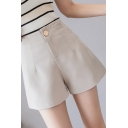 Formal Ladies Shorts Solid Color High Rise Relaxed Shorts