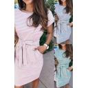 Fancy Women's T-Shirt Dress Stripe Pattern Boat Neck Rolled up Hem Short Sleeves Knee Length T-Shirt Dress with Tie