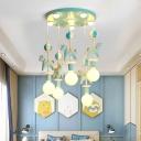 Kids Carousel Multi Light Pendant Lighting Resin Bedroom Suspended Lighting Fixture