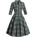Popular Girls Dress Plaid Printed 3/4 Sleeve Turn Down Collar Button Up Mid Pleated Flared Green Dress