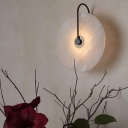 Marble Disc LED Wall Light Fixture Postmodern Black Finish Wall Sconce with Arc Arm