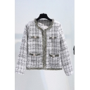 Unique Women's Jacket Tartan Print Pocket Round Neck Contrast Trim Long-sleeved Open Front Regular Fitted Jacket