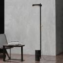 Simplicity Circular LED Floor Light Metal Sitting Room Floor Reading Lamp in Black