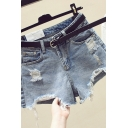 Fancy Women's Shorts Frayed Asymmetrical Hem Distressed Detail Side Pocket Mid Waist Denim Shorts