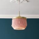 Tassel Girls Bedroom Chandelier Vintage Fabric Single Hanging Ceiling Light Fixture