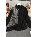 Stylish Women's Shirt Blouse Contrast Panel Asymmetrical Hem Point Collar Long Sleeve Relaxed Fit Shirt Blouse