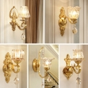 Gold Floral Wall Lamp Antique Clear Blown Glass Single Stairs Wall Sconce Lighting