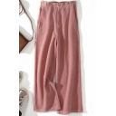 Unique Women's Pants Solid Color Corduroy Zip Fly Long Wide Leg Pants