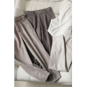 Stylish Women's Pants Heathered Zip Fly Side Pocket Mid Waist Ankle Length Tapered Pants