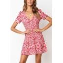 Women's Trendy Floral Printed V-Neck Short Sleeve Mini A-Line Tea Dress in Pink