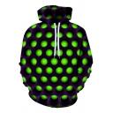 Retro Men's Hoodie 3D Digital Dot Pattern Pocket Detail Long Sleeve Drawstring Hooded Sweatshirt