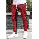 Mens Simple Plaid Printed Zip Patch Side Stripe Drawstring Waist Casual Skinny Pants