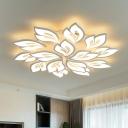 White Floral LED Semi Flush Mount Light Modernism Acrylic Ceiling Lamp for Dining Room