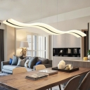 Linear Acrylic LED Suspension Lighting Simplicity Nickel Finish Chandelier Pendant