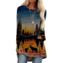 Stylish T Shirt Tree Deer Patterned Long Sleeve Round Neck Tunic Relaxed Tee Top for Girls