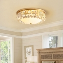 Gold Finish 4-Light Ceiling Fixture Postmodern Crystal Bowl Flush Mount Lamp with Opal Glass Diffuser