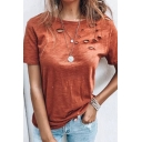 Fancy Women's Tee Top Distressed Broken Hole Round Neck Short Sleeves Regular Fitted T-Shirt
