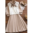 Stylish Womens Apricot Dress Corduroy Long Sleeve Bow-tied Neck Button Up Mid A-line Pleated Dress with Vest