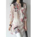 Trendy Women's Shirt Blouse Floral Pattern Button Chest Pocket 3/4 Sleeves Relaxed Fit Shirt Blouse
