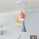 Creative Musical Instrument Multi Pendant Metal 3 Heads Dining Room Ceiling Light in Pink-Yellow