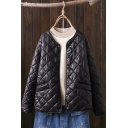 Warm Womens Coat Quilted Long Sleeve Button Up Relaxed Fit Plain Coat