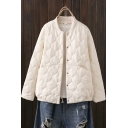 Casual Womens Coat Solid Color Quilted Long Sleeve Press Button Loose Coat