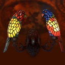 Hand-Cut Stained Glass Black Sconce Lamp Parrot Shaped 1 Bulb Tiffany Wall Mounted Light