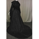 Stylish Women's A-Line Dress Lace up Front Patchwork Mesh Gauze Long Flare Cuff Sleeves Square Neck Long Hooded A-Line Dress
