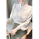 Womens Pretty Shirt Floral Embroidery Long Sleeve Collarless Button Up Regular Fit Shirt in Apricot