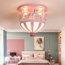 Carousel Resin Flush Mount Lighting Kids 4-Head Semi Flush Ceiling Light with Dome White Glass Shade