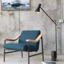 Nordic Hourglass Shaped Floor Lighting Cement Single Living Room Floor Lamp in Black