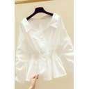 Leisure Women's Shirt Blouse Solid Color Stringy Selvedge Embellished Button Closure Turn-down Collar Long Sleeves Regular Fitted Shirt Blouse