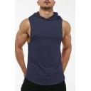 Running Vest Solid Color Hooded Slim Fitted Vest for Guys