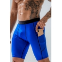 Simple Mens Shorts Contrast Pipe Elastic Waist Fitted Shorts