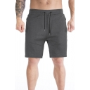 Fitness Quick Dry Shorts Panel Drawstring Waist Straight Shorts for Guys
