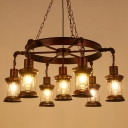Wrought Iron Bronze Chandelier Wheel Style Industrial Hanging Light with Clear Glass Lantern