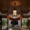Distressed Wood Ship Shaped Ceiling Light Country Clear Glass Single Restaurant Pendant Lamp