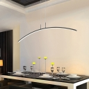 Metal Curve Shaped Hanging Island Light Simple Style LED Ceiling Suspension Lamp