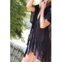 Holiday Girls Dress Plain See-through Hollow Out Batwing Sleeve V-neck Slit Sides Short Swing Dress