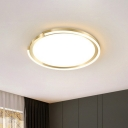 Golden Disk LED Flush Mount Lamp Simplicity Metal Ceiling Light with Acrylic Diffuser