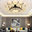 Round Prismatic Crystal Ceiling Light Traditional Living Room Semi Flush Mount Chandelier in Black