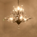 Beveled Crystal Branching Drop Pendant French Country Living Room Chandelier Light Fixture