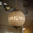 Antiqued Brass Sphere Chandelier Pendant Classic Crystal Embedded Lobby Hanging Ceiling Light