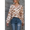 Leisure Women's T-Shirt Leopard Pattern Button Front V Neck Long Bishop Sleeves Relaxed Fit Tee Top
