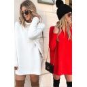 Fancy Women's Dress Solid Color Side Split Mock Neck Long Sleeves Relaxed Fit Sweater Dress