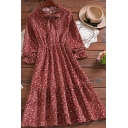 Fashion Womens Dress Ditsy Floral Printed Long Sleeve Bow Tied Neck Ruffled Mid A-line Dress in Red