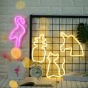 White Unicorn Head Battery Night Lamp Kids Plastic LED Nightstand Light with Keyhole Hook