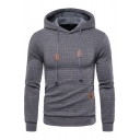 Unique Men's Hoodie Fleece Lined Label Patch Banded Cuffs Long Sleeves Drawstring Hooded Sweatshirt